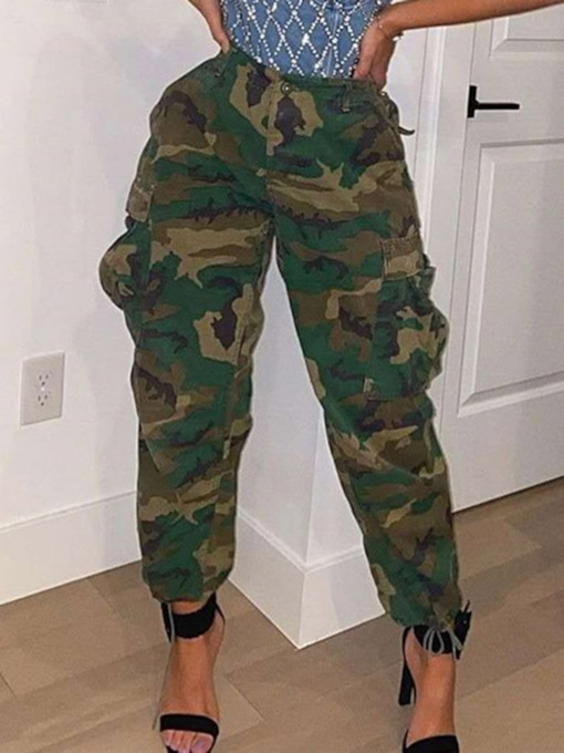 Camouflage Pocket Loose Ankle Length Women's Casual Pants