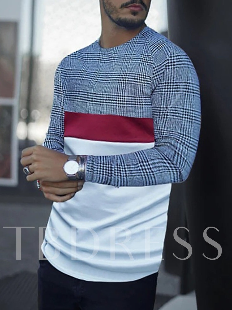 Patchwork Plaid Casual Round Neck Pullover Men's T-shirt