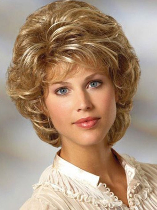 Women's Short Layered Hairstyle Blonde Curly Synthetic Hair Capless 10 Inches 120% Wigs