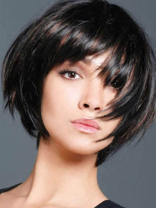 Capless Short Straight Bob Wig Human Hair with 10 Inches