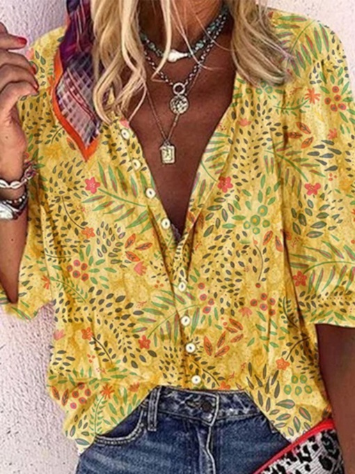 Lapel Print Floral Regular Three-Quarter Sleeve Women's Blouse