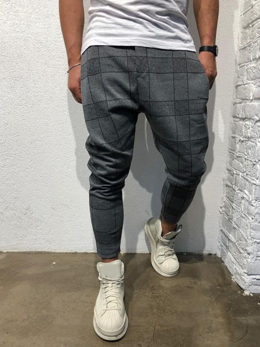 Plaid Print Casual Men's Casual Pants