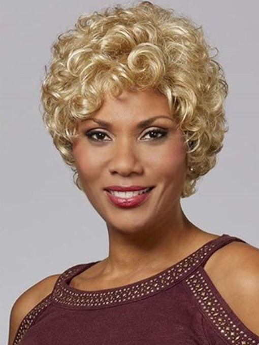 African American Women's Short Blonde Curly Hair Synthetic Hair Capless 6Inch 120% Wigs