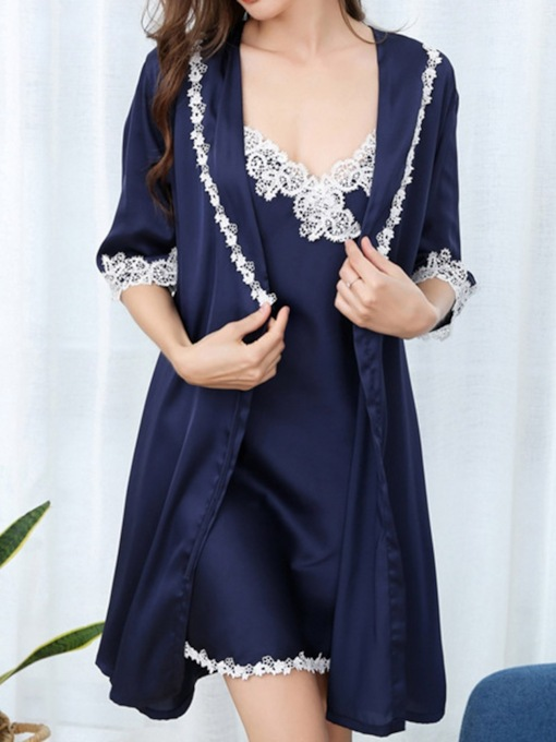 Color Block Lace Sexy Robe Women's Pajama Suit