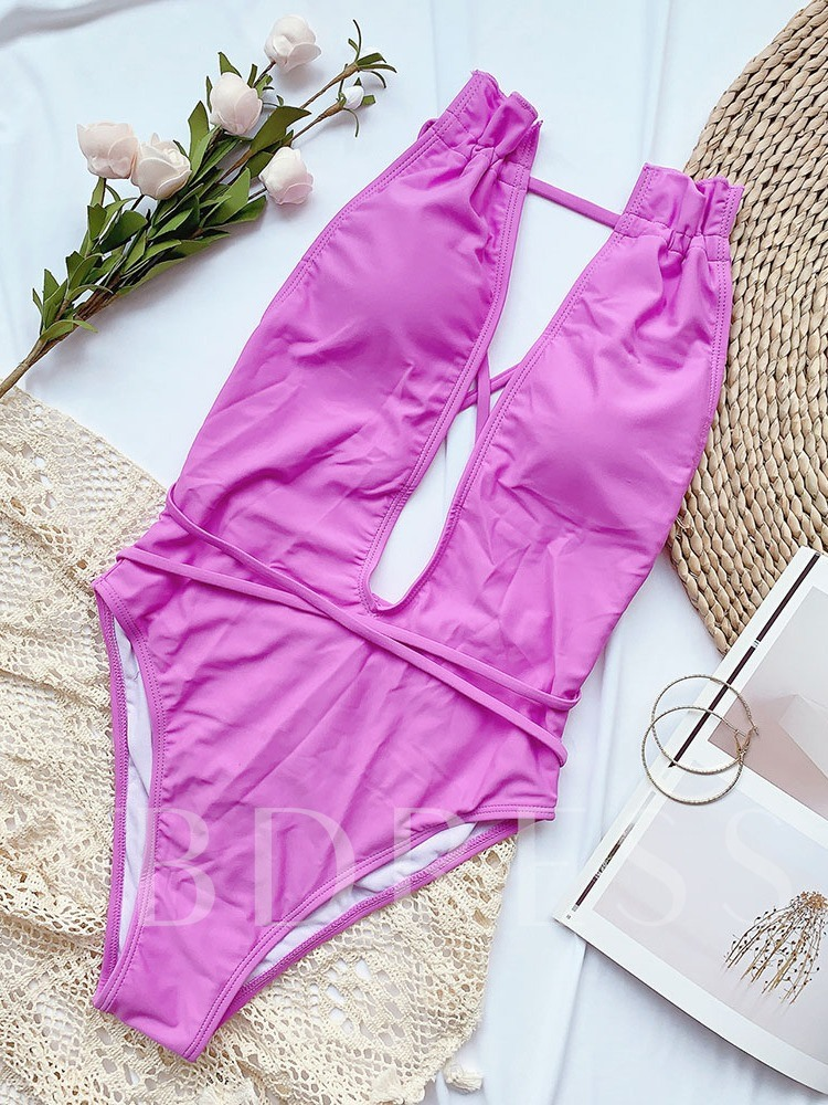 One Piece Hollow Out Plain Lace-Up Women's Swimwear