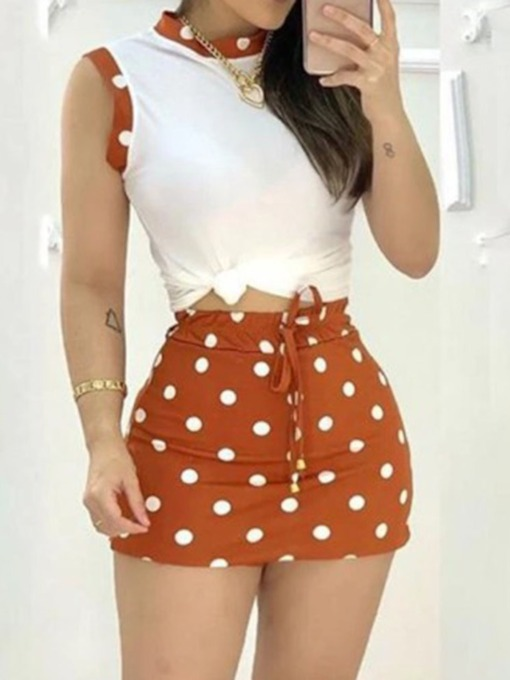 Skirt Fashion Lace-Up Polka Dots Bodycon Women's Two Piece Sets