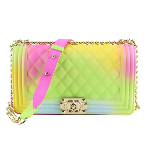 PVC Gradient Color Lock Rectangle Crossbody Bags