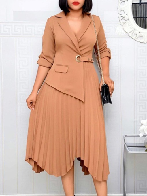 Long Sleeve Pleated Notched Lapel Mid-Calf Plain Female's Dress