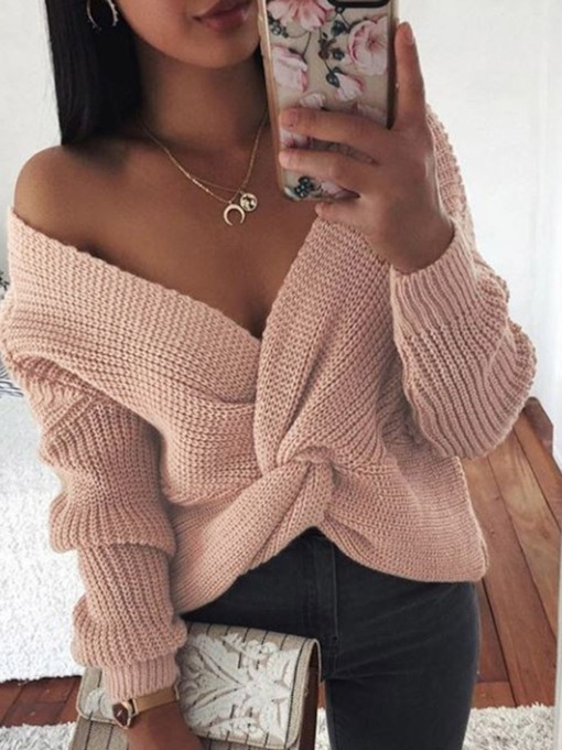 Regular Thin V-Neck Female's Sweater