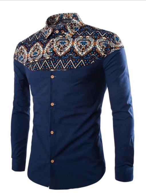 Floral Lapel Ethnic Print Fall Men's Shirt