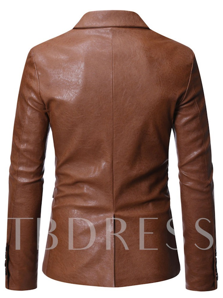 Standard Notched Lapel Plain Single-Breasted Men's Leather Jacket