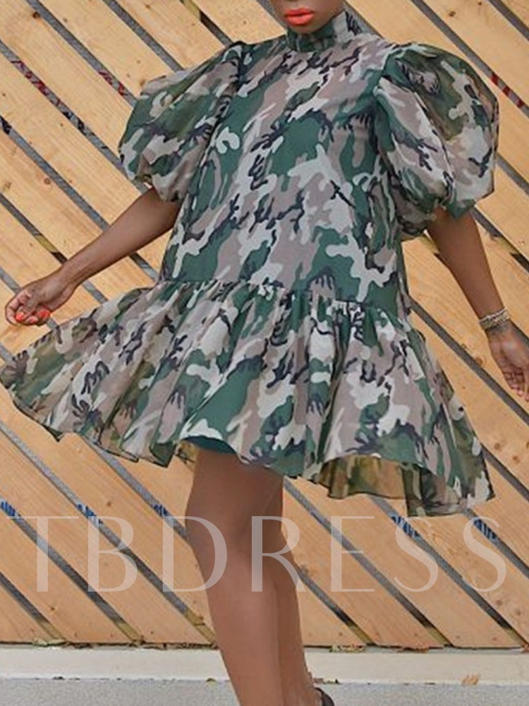 Half Sleeve Print Above Knee Stand Collar Expansion Women's Dress