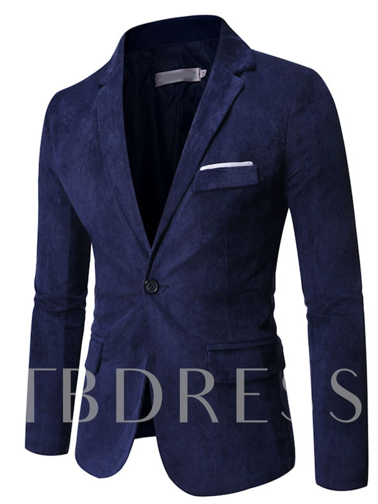 Notched Lapel One Button Pocket Formal Men's Blazer