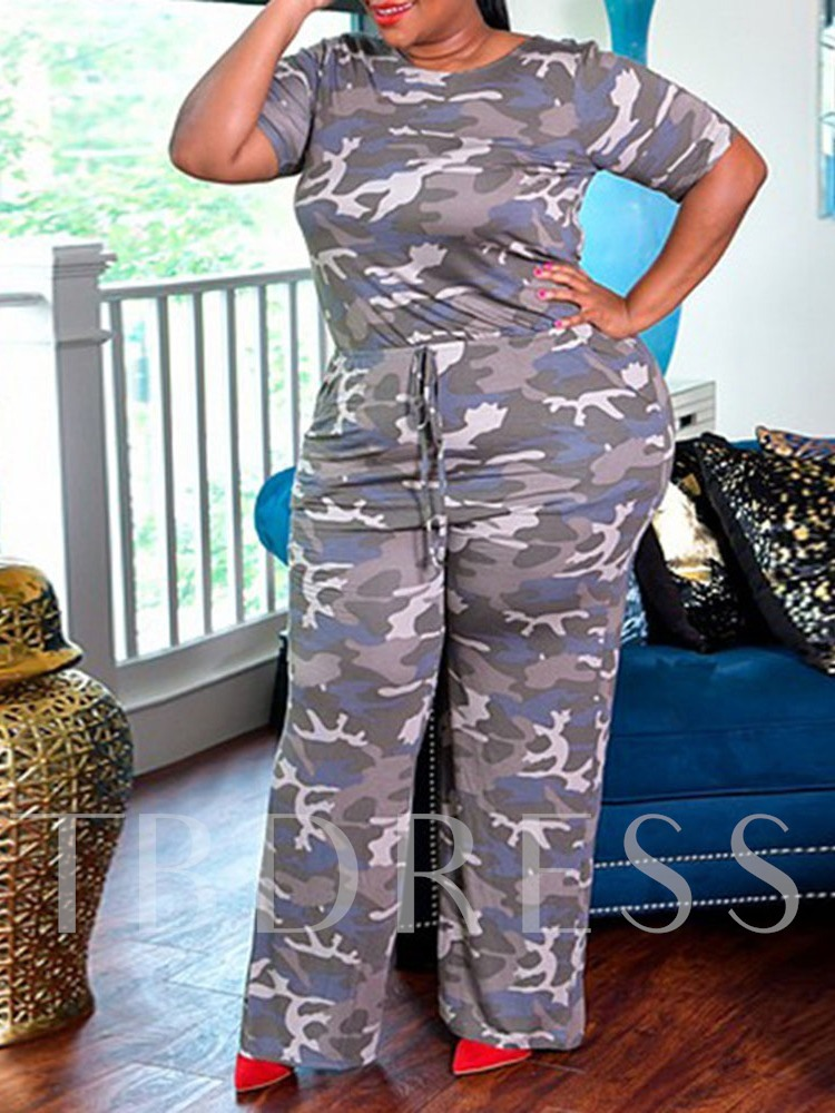Camouflage Print Full Length Mid Waist Women's Jumpsuit