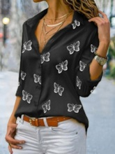 Regular Print Animal Lapel Long Sleeve Women's Blouse