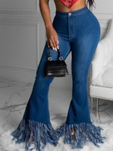 Plain Tassel Bellbottoms Zipper Women's Jeans