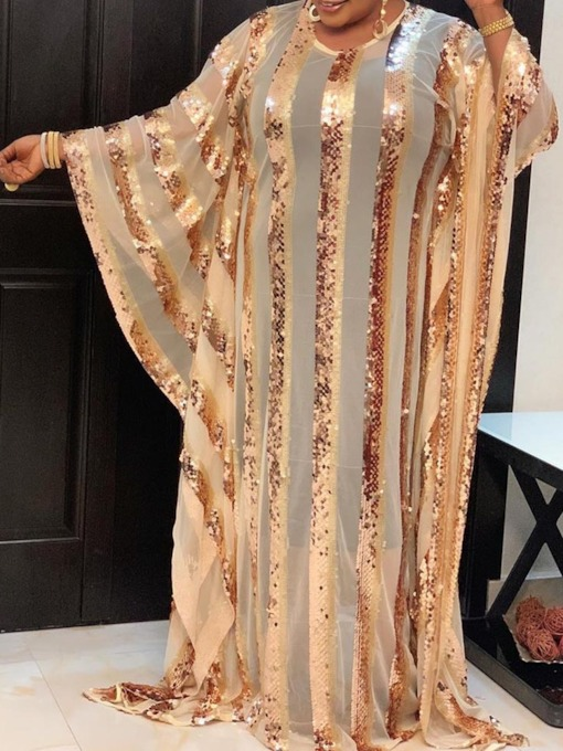 Floor-Length Round Neck Long Sleeve Sequins Pullover Women's Dress