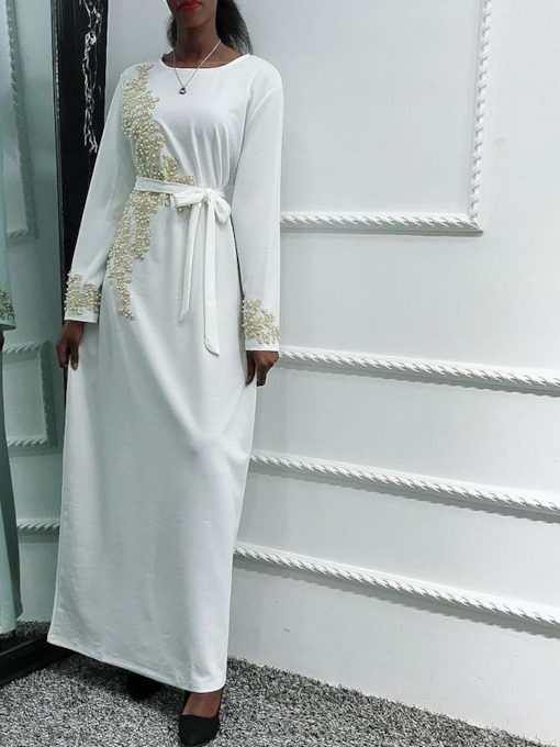 Round Neck Long Sleeve Bead Floor-Length All-Season Women's Dress
