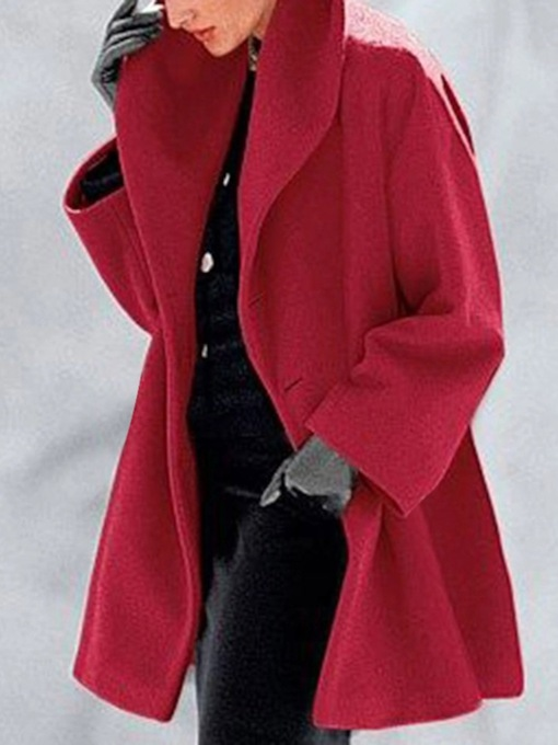 Loose One Button Button Mid-Length Women's Overcoat