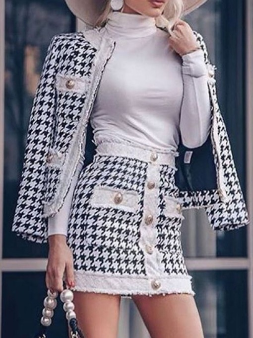 Zipper Skirt Fashion Bodycon Women's Two Piece Sets