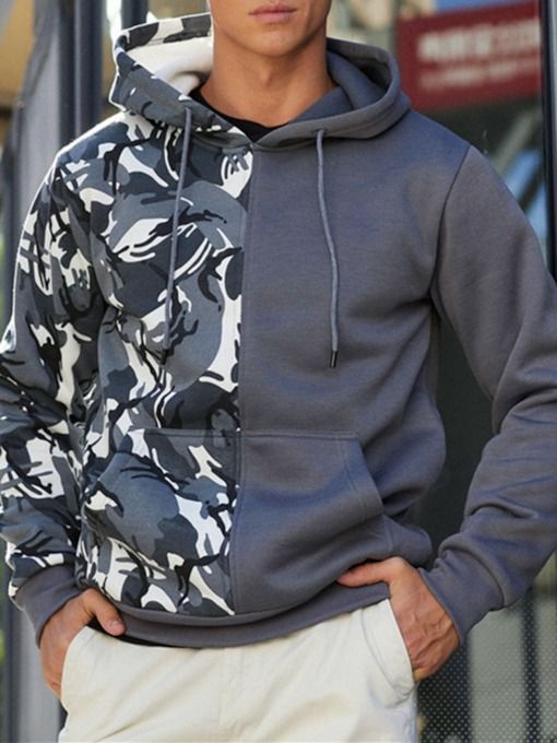 Print Camouflage Thick Pullover Casual Men's Hoodies