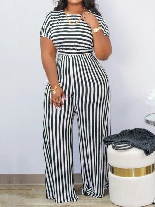 Casual T-Shirt Stripe Pullover Women's Two Piece Sets