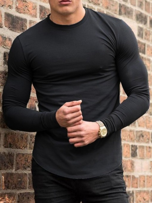 Round Neck Plain Casual Pullover Men's T-shirt