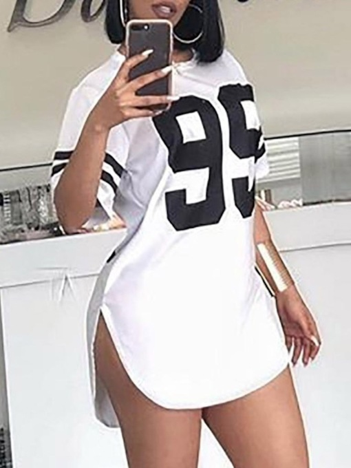 Round Neck Mid-Length Short Sleeve Letter Casual Women's T-Shirt