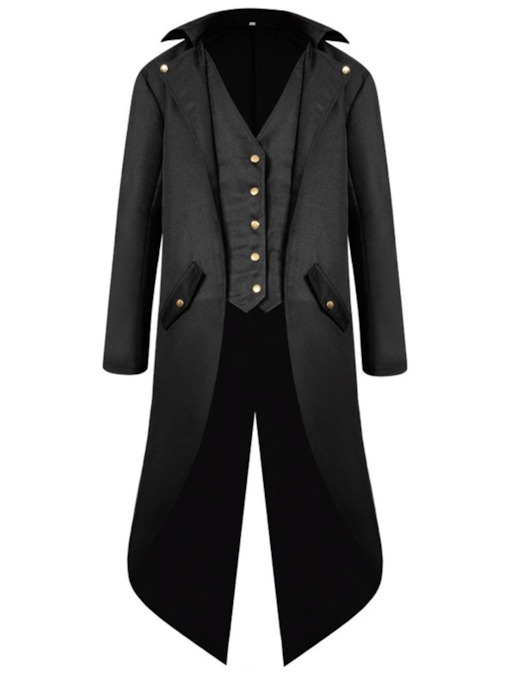 Plain Button Long Winter Men's Coat