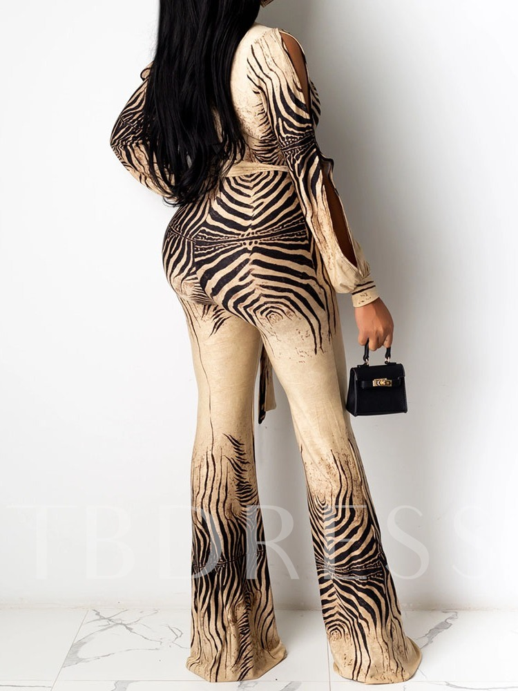 Lace-Up Color Block Sexy Full Length Flare Women's Jumpsuit
