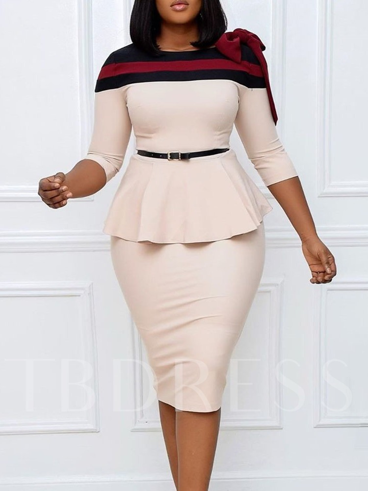 Three-Quarter Sleeve Round Neck Mid-Calf Patchwork High Waist Women's Dress