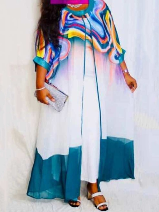 Print Floor-Length Three-Quarter Sleeve Round Neck A-Line Women's Dress