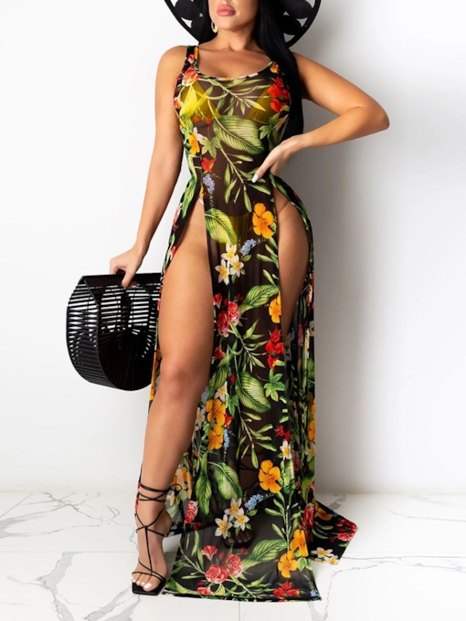 Sleeveless Floor-Length Print Scoop A-Line Women's Dress