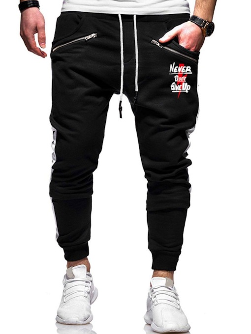 Straight Letter Print Casual Men's Casual Pants
