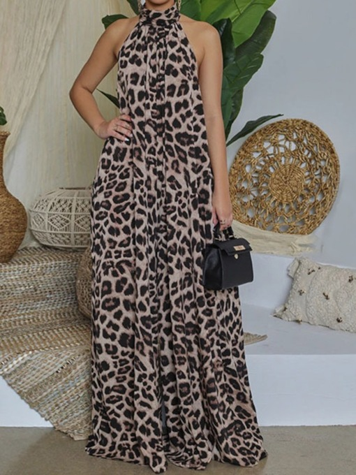 Full Length Leopard Backless Fashion Loose Women's Jumpsuit