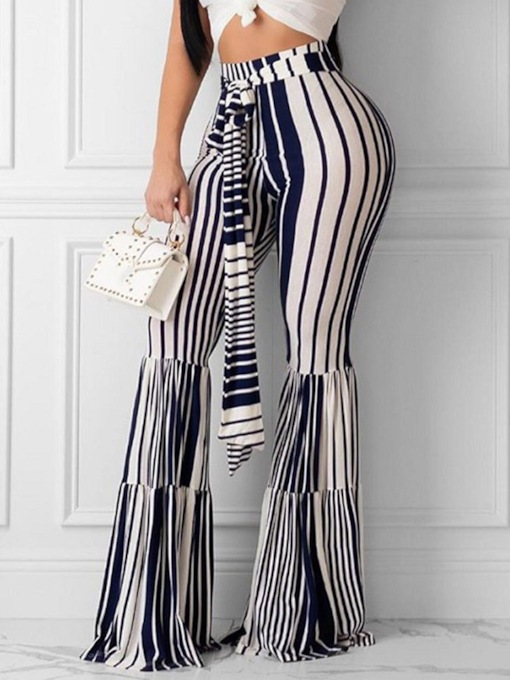 Lace-Up Slim Stripe Full Length Women's Casual Pants