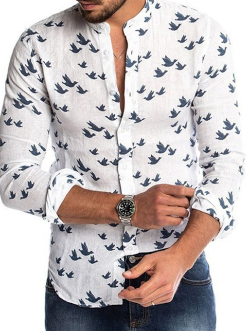 Print Casual Stand Collar Single-Breasted Men's Shirt