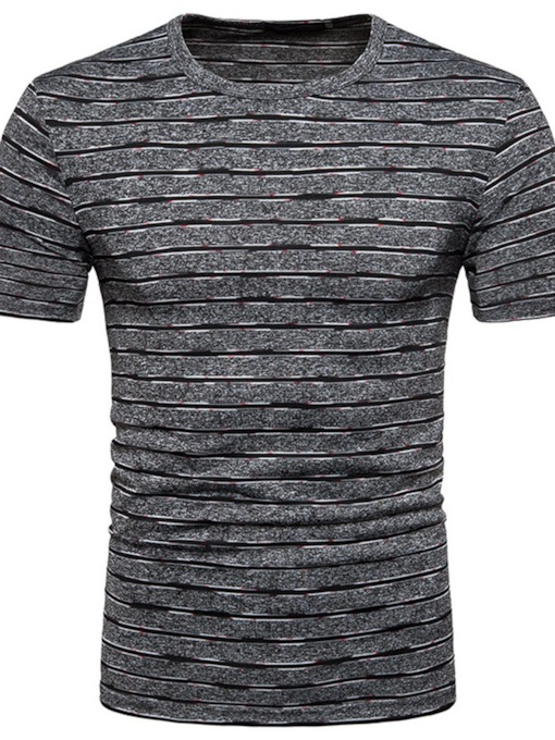 Round Neck Casual Stripe Pullover Men's T-shirt