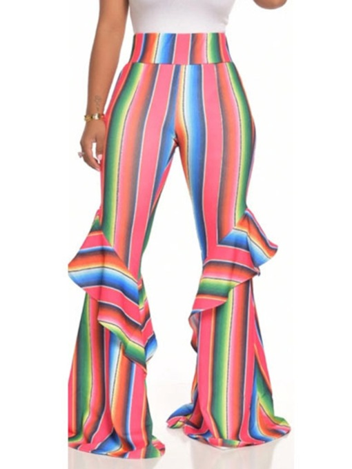 Stripe Slim Falbala Full Length Women's Casual Pants