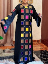 Floor-Length Round Neck Long Sleeve Patchwork Vintage Women's Dress