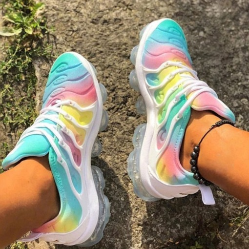 Platform Lace-Up Low-Cut Upper Round Toe PU Sneakers