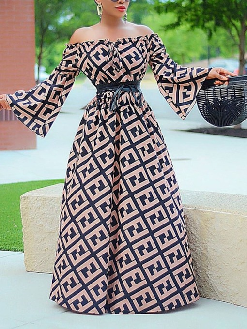 Floor-Length Print Long Sleeve Off Shoulder Fashion Women's Dress