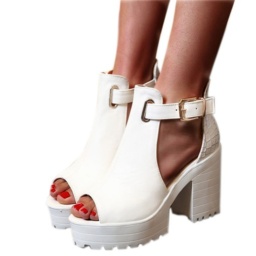 Buckle Peep Toe Buckle Chunky Heel Ultra-High Heel(≥8cm) Thin Shoes