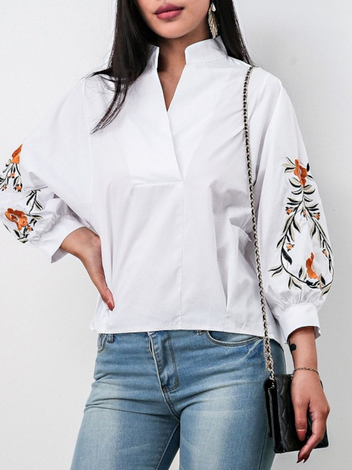 V-Neck Button Floral Lantern Sleeve Nine Points Sleeve Women's Blouse