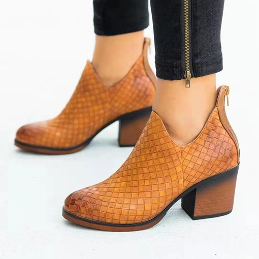 Round Toe Plaid Back Zip Chunky Heel Western Boots