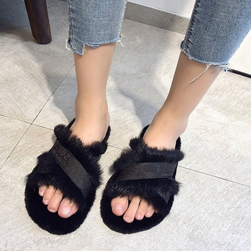 Feather Flat With Slip-On Cross Camouflage Slippers