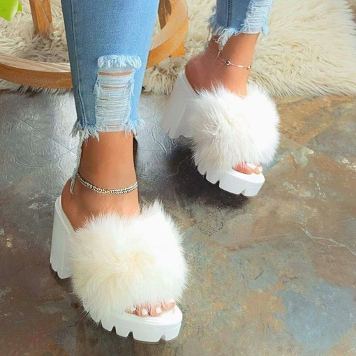 Feather Chunky Heel Slip-On Flip Flop Color Block Slippers