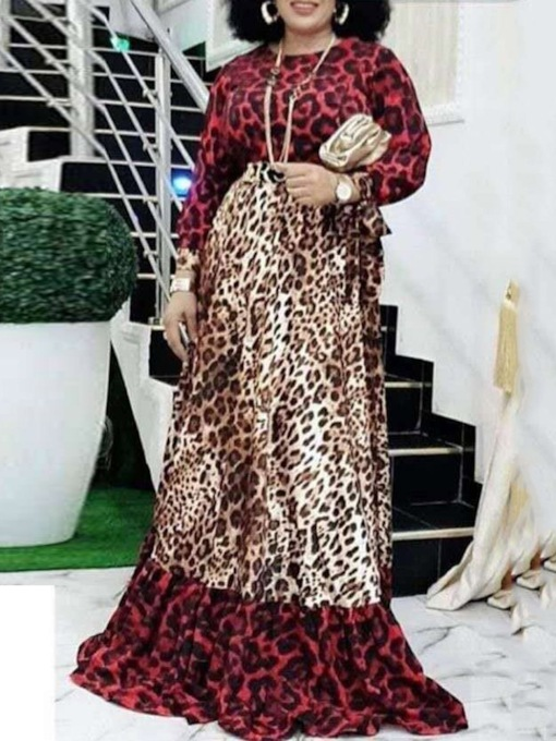 Print Long Sleeve Floor-Length Round Neck Leopard Women's Dress