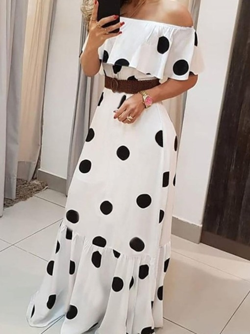 Off Shoulder Print Floor-Length Short Sleeve Sweet Women's Dress