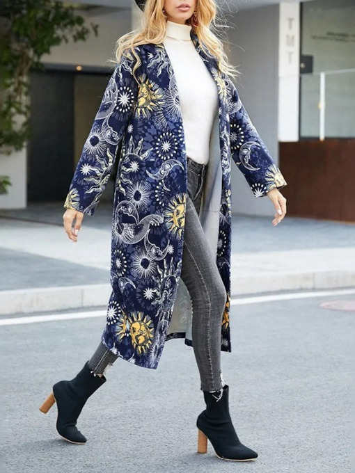 Regular Print Slim Long Women's Overcoat